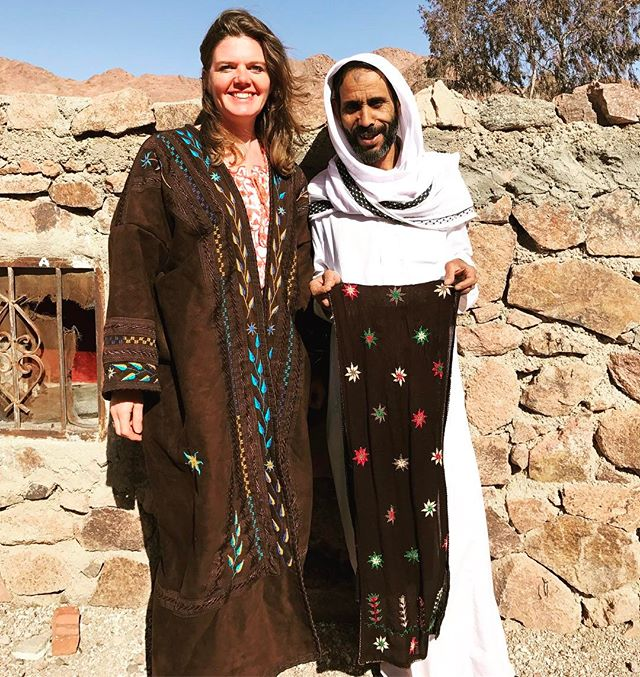 Our friend Mohamed in #StCatherine runs Bedouin Craft. He employs local women to make many different things using traditional #Bedouin #stitching and #beading. You can also bring him your clothes to be decorated. This is @oliviafmb in a warm coat called a farwa. The project began through the vision of Father Moses, a 72 year old monk at St. Catherine's Monastery. Any profits made are used for social projects and emergency assistance, usually medical. For more information call Mohamed El Hashash on +20 (0) 106 0315586. Website: www.bedouincraft.com #craft #artandcraft #etsy #handmade #sew #sewing #beads #colourful #ethnic #boho #traditionalcraft #thebedouinway #dahab #sharmelsheikh #nuweiba #sinai #egypt #artanddesign #design #designer #accessories #coat #jacket #embroidery