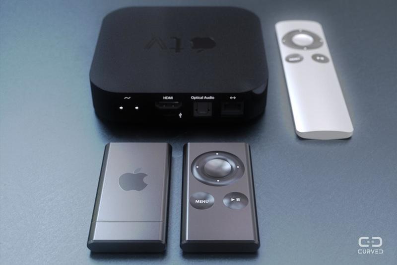 """Conceito da """"Apple TV Air"""" em baixo e em comparação com a corrente Apple TV e o seu comando"""