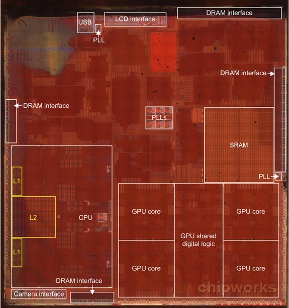 Matriz do transistor, processador A7, pela    Chipworks