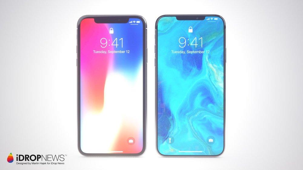 """iPhone X (à esquerda) vs """"iPhone XI"""" (à direita)"""