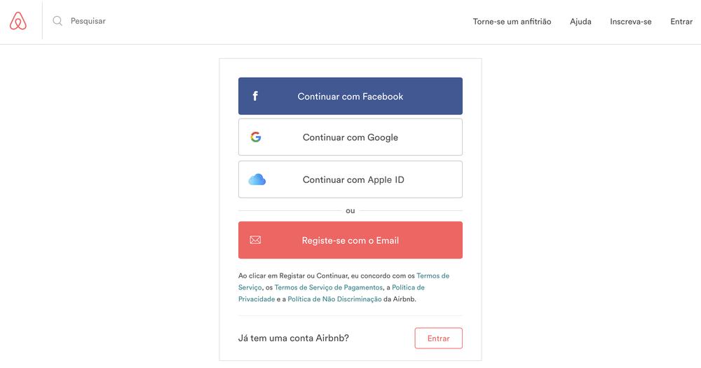 Conceito de utilização do Apple ID para entrar no Airbnb.