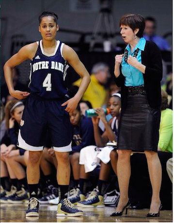 Former Notre Dame point guard Skylar Diggins said Head Coach Muffet McGraw was so loyal it made her want to return the favor.  Photo: AP/Michael Perez