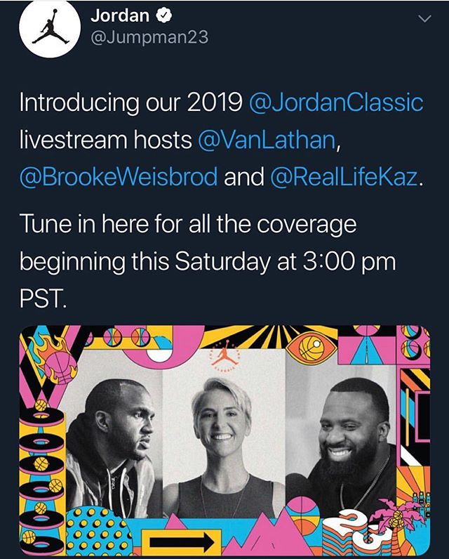 Saturday at 6pm ET it's going down live on Twitter! We'll call both the girls and boys games - check it out following @jumpman23 on #Twitter. Can't wait for this call.... #jordanbrandclassic