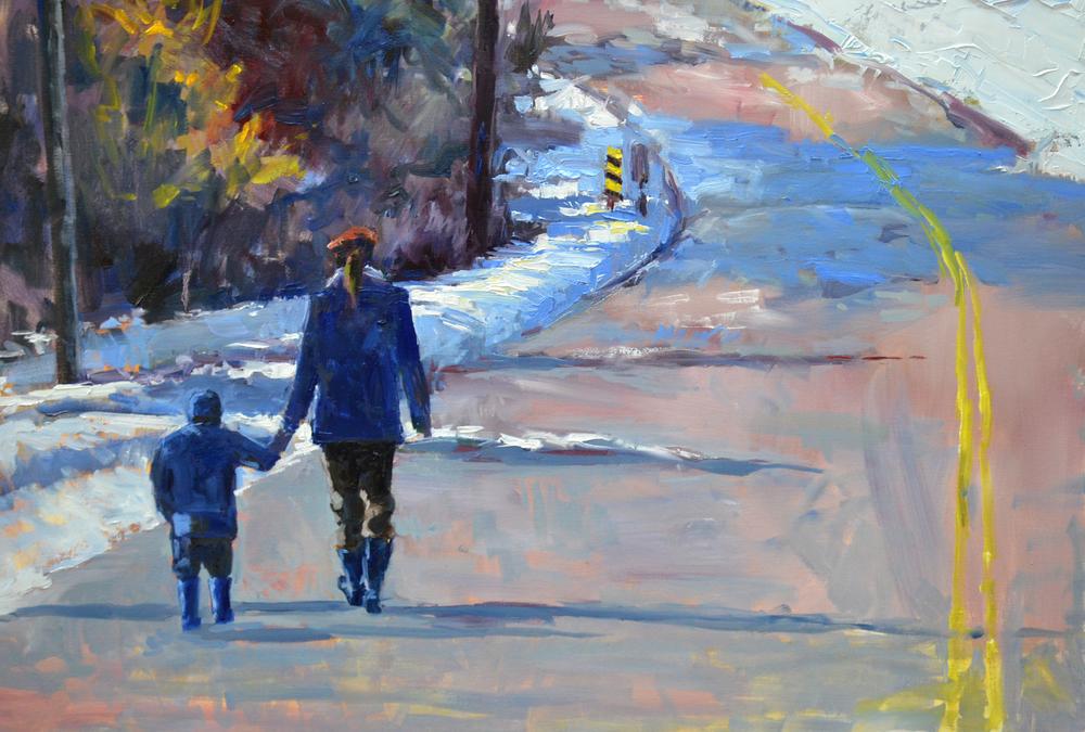 """Holding Hands"". Oil on canvas. 24x36. Alla prima style."