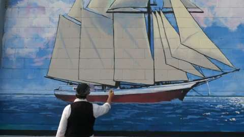 Manitowoc Maritime Heritage Mural designed & executed by Artist Jason Prigge