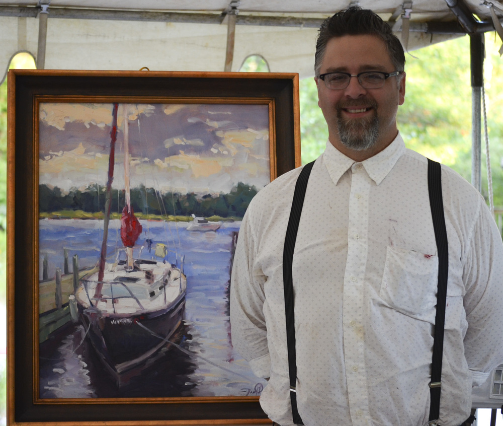 Pleinairist Jason Prigge and his winning pieceRestful Morning,22x28 oil on canvas