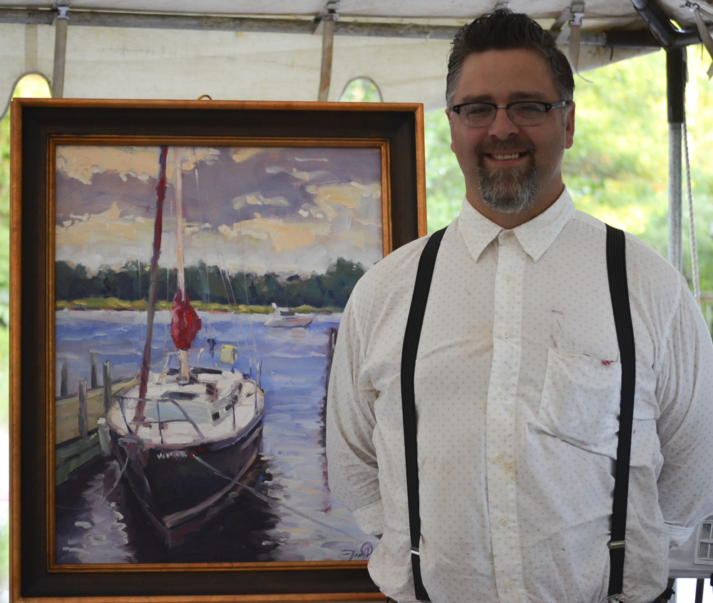 Pleinairist Jason Prigge won the Door County Dockside Quick Paint with his pieceRestful Morning, 22x28, oil on canvas