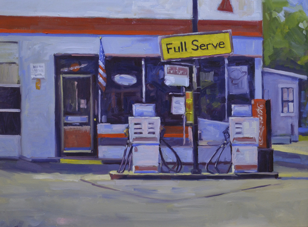 Full Serve 18x24 oil on canvas, displayed at the Randy Higbee Art Gallery in Costa Mesa, CA for the exhibitionUrban Beauty.