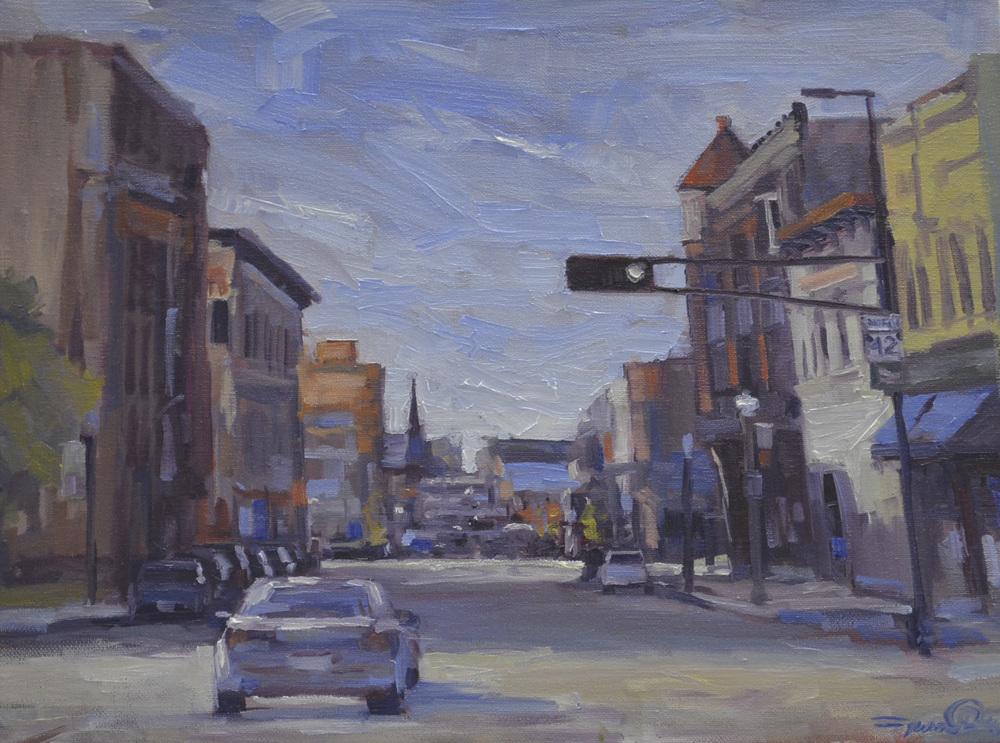 Artist Jason Prigge, Downtown Manitowoc S 8th, 16x20, Oil.JPG