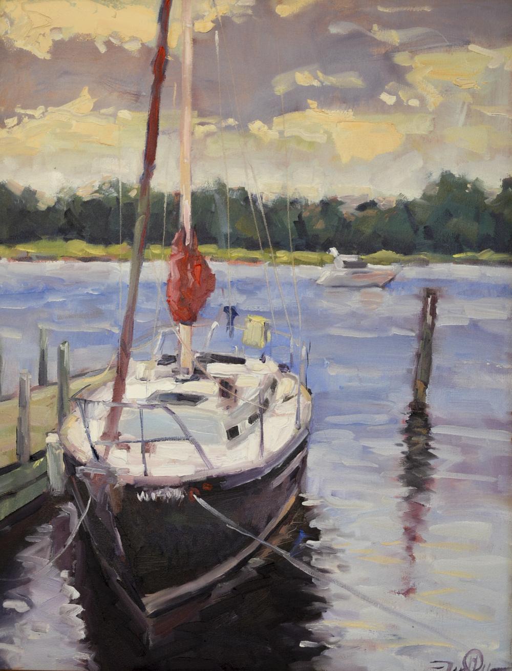 Restful Morning 22x28 Jason Prigge oil on canvas winner 2014 Dockside Quick Paint.JPG