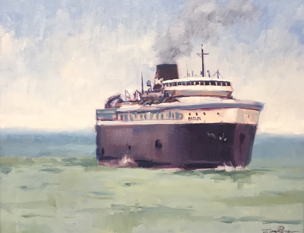SS Badger Sails into Port 16x20 oil