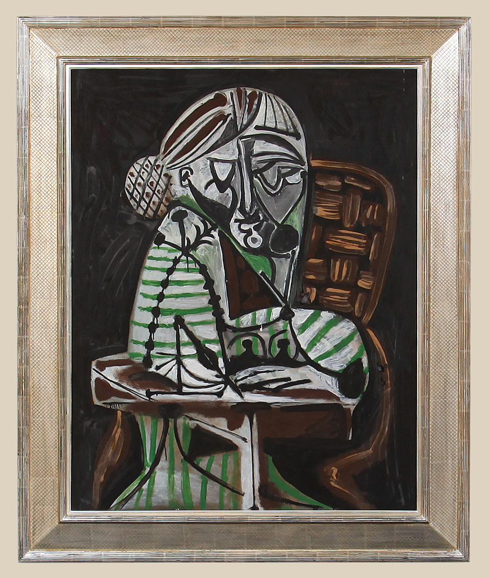 1. Picasso, Woman Drawing (Francoise), 1951, framed.jpg