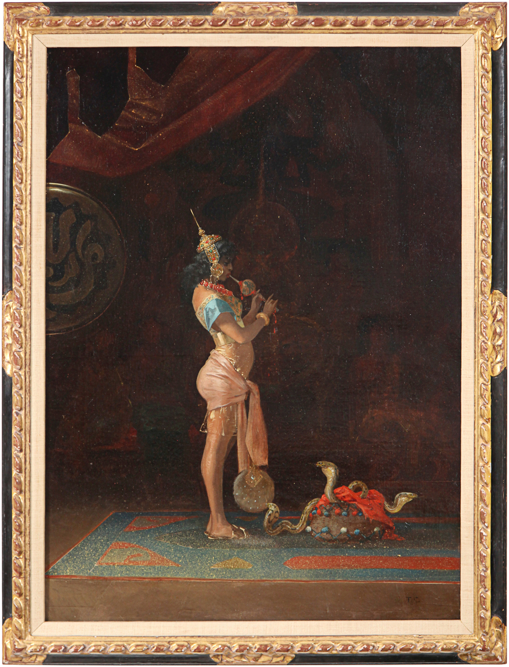 1. Couture, The Snake Charmer, ca 1860, oil on canvas, 31.5 x 23 in, signed with initials l.r.jpg