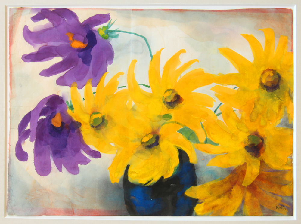 1. Nolde, Yellow and Mauve Dahlias in Blue Vase.jpg
