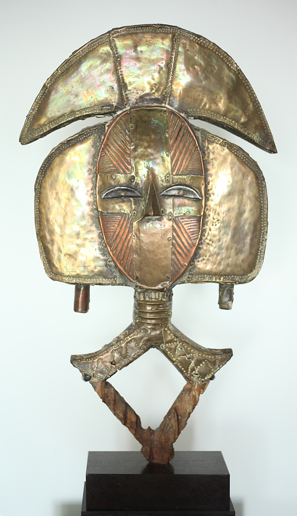 1. Kota Obamba Reliquary Figure Gabon, wood with hammered metals, 22 inches high, ca. 1800 century_frontal.jpg