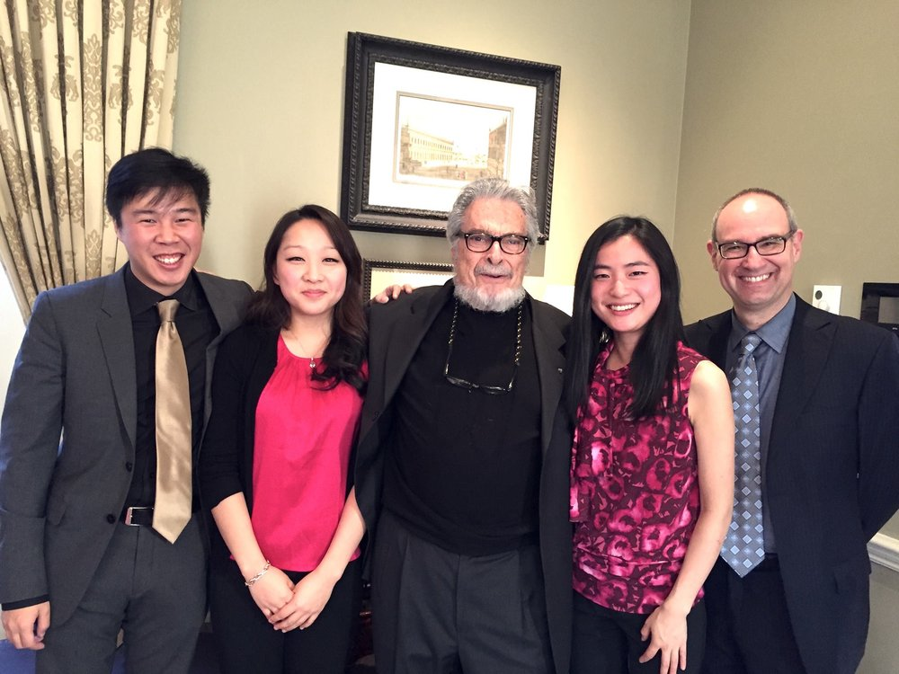 After performing Brahms Piano Quintet with legendary musicians Leon Fleisher and Michael Kannen (2015)