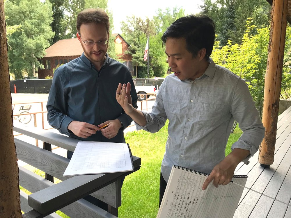 Post-rehearsal discussion with Eric Nathan on his work,  the space of a door,  at Aspen Music Festival (2018)