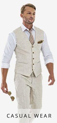 Linen vest + pant + shirt