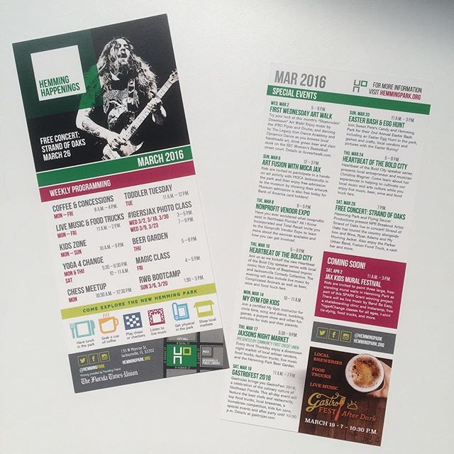 This month's @hemmingpark calendars are here. #dtjax #getoutoftheoffice