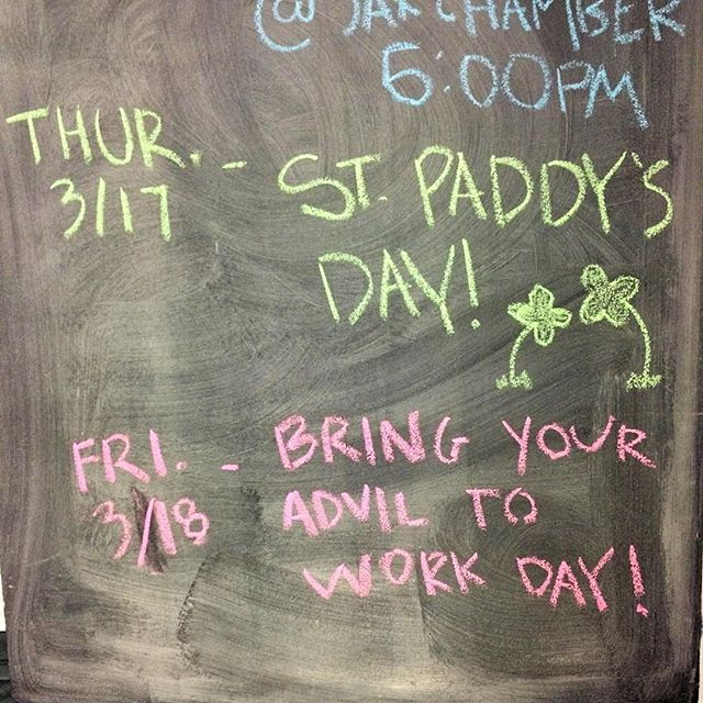 Now that St. Patrick's Day is over, here's what's on our calendar for today. #CoWork #thedayafter