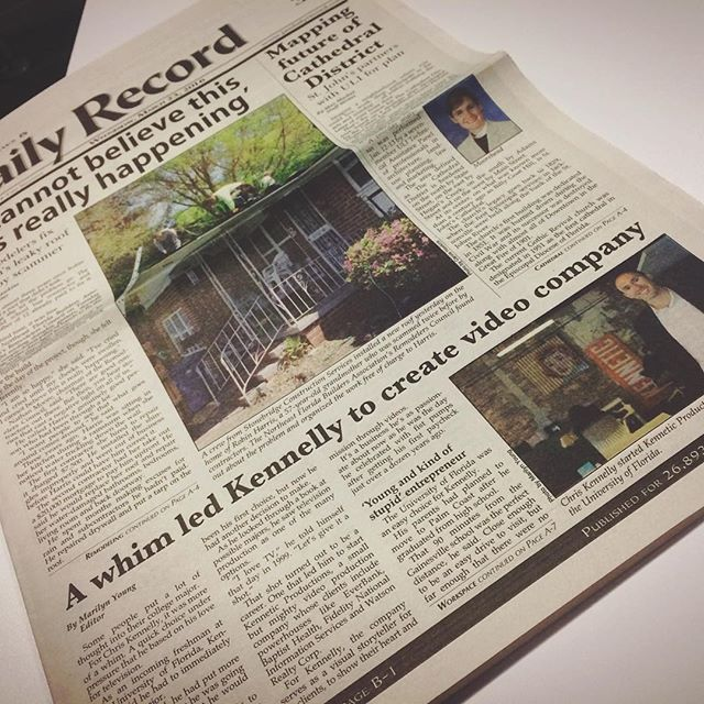 CoWork Jax member Chris Kennelly and his company, Kinnetic Productions, are lookin' good on the cover of The Jacksonville Daily Record. #CoWorking #CoWorkJax #KinneticProductions #CoverModel