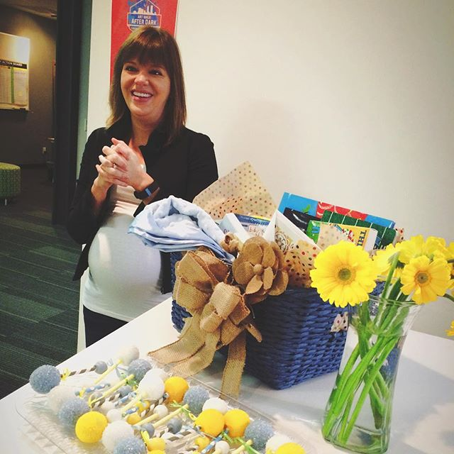 A little morning breakfast and baby shower for Paige!  Thanks to all the CoWork Jax members who contributed to our baby book gift basket!  Also, huge shoutout to @kristinbethjohns for the AMAZING and DELICIOUS cake pops!!! #coworkjax #coworking #cakepops #babyontheway #paigeisdabomb #coworkersarethebest #cakepopsarethesecondbest
