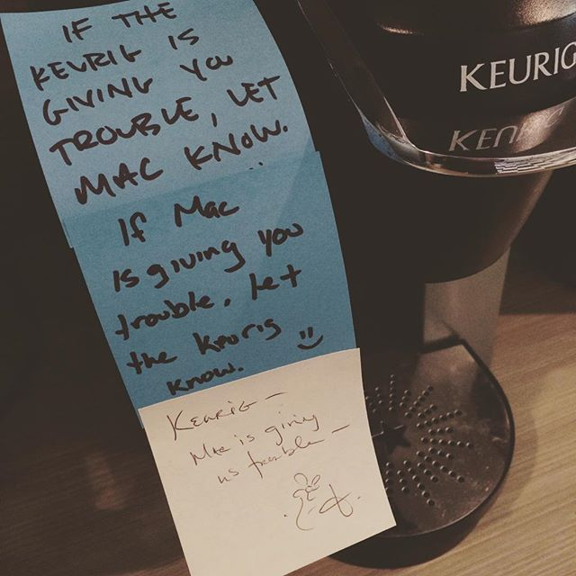 It started with a single, well-intentioned post-it note. I love this place. #coworkJax #cowork #coworking #coworkers #kuerig #officecoffee #funny #toomanyhashtags #iagree #whoareyou #justarandomcontributor #ohnicetomeetyou #youtoo