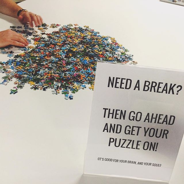 This 1000 piece puzzle is happening in the middle of the office. Coworking: It's so much more than a shared office space. #PuzzlesAreForGrownUps #Coworking #Cowork #CoworkJax #dtjax #igersjax #GetOutOfTheHouse