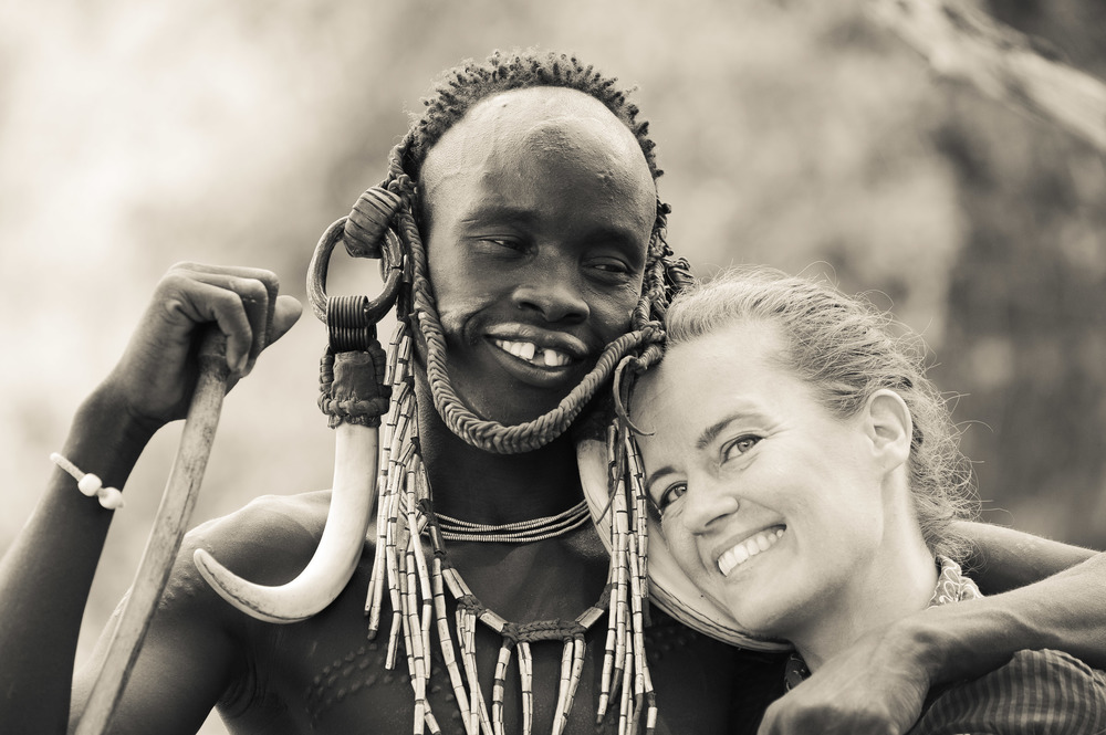 Kristi with a friend from the Mursi tribe, Lower Omo Valley, Ethiopia