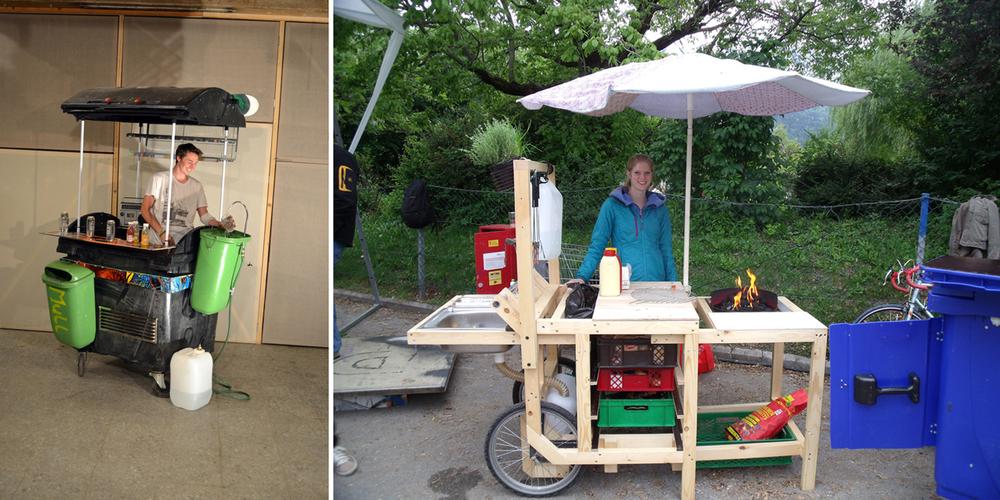 Mobile Küchen-/Barelemente, erdacht und produziert von Architekturstudierenden und erprobt beim Bäckereicafe im Rapoldipark zum Abschluss der Architekturtage 2014.