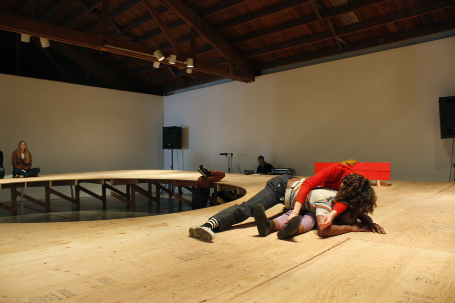 In Site  at Disjecta, 2011:  Linda Austin, Jin Camou, Keyon Gaskin, Danielle Ross, sound by Seth Nehil. Photo Chelsea Petrakis