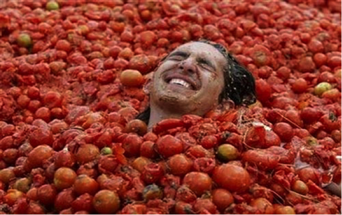 Don't worry - we didn't bathe in our harvest like this guy...