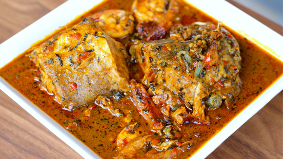Fisherman's soup, a  Nigerian seafood dish