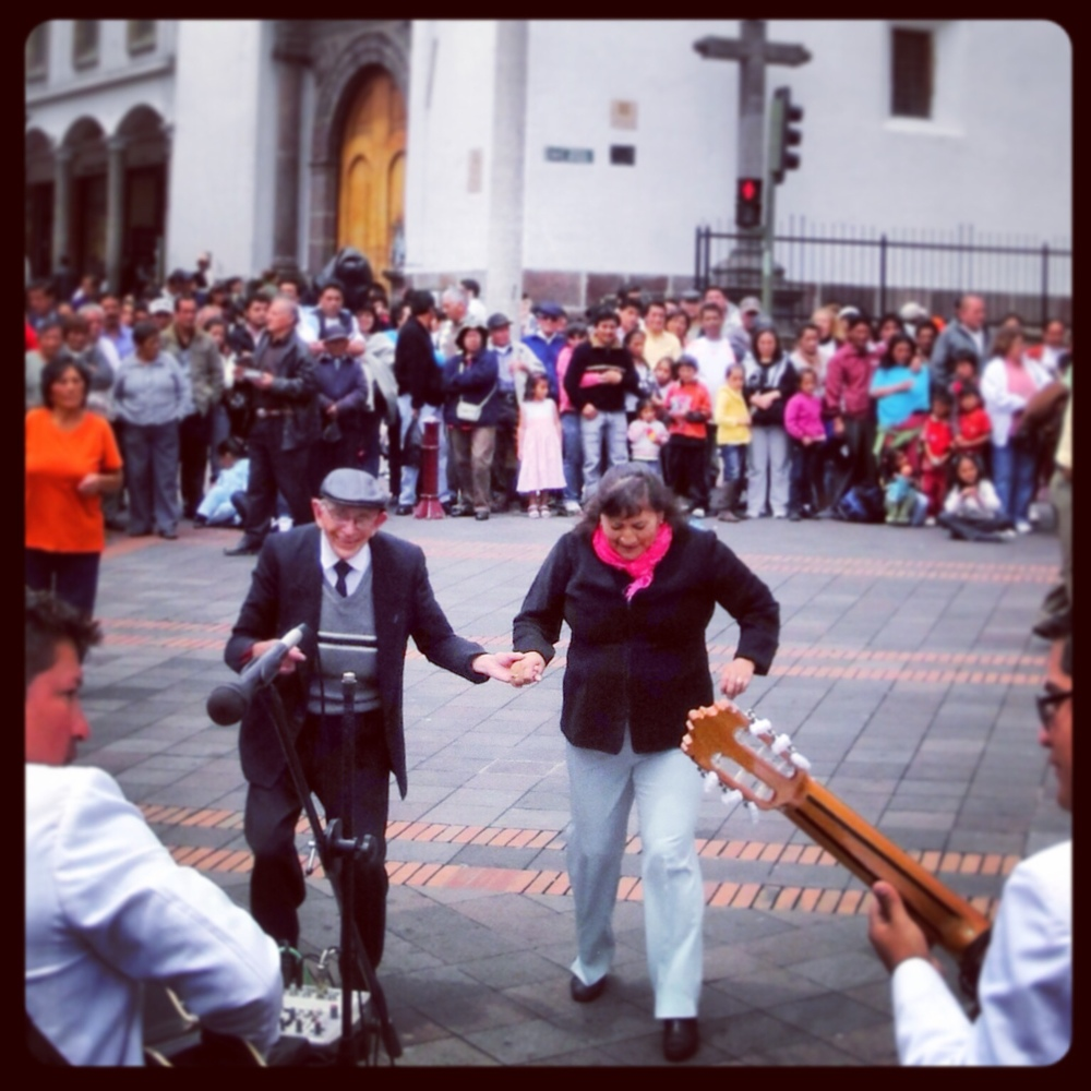Dancing in the street in Quito, Ecuador.
