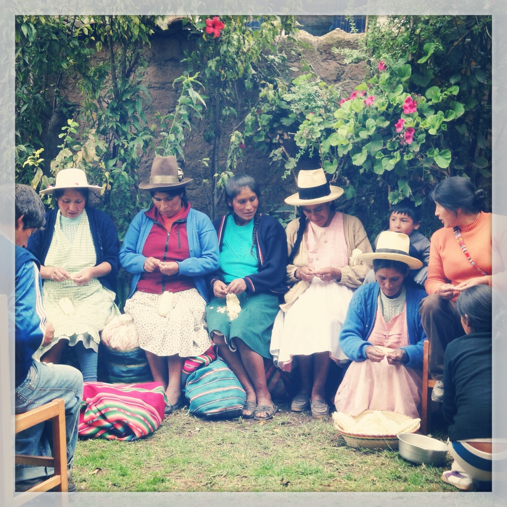 Quechua moms at the Sacred Valley Project in Ollantaytambo, Peru.