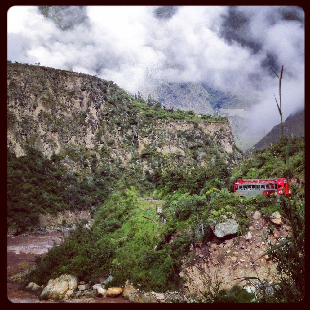 Walking the train tracks to Machu Picchu, the jarring primary colors of the trains.