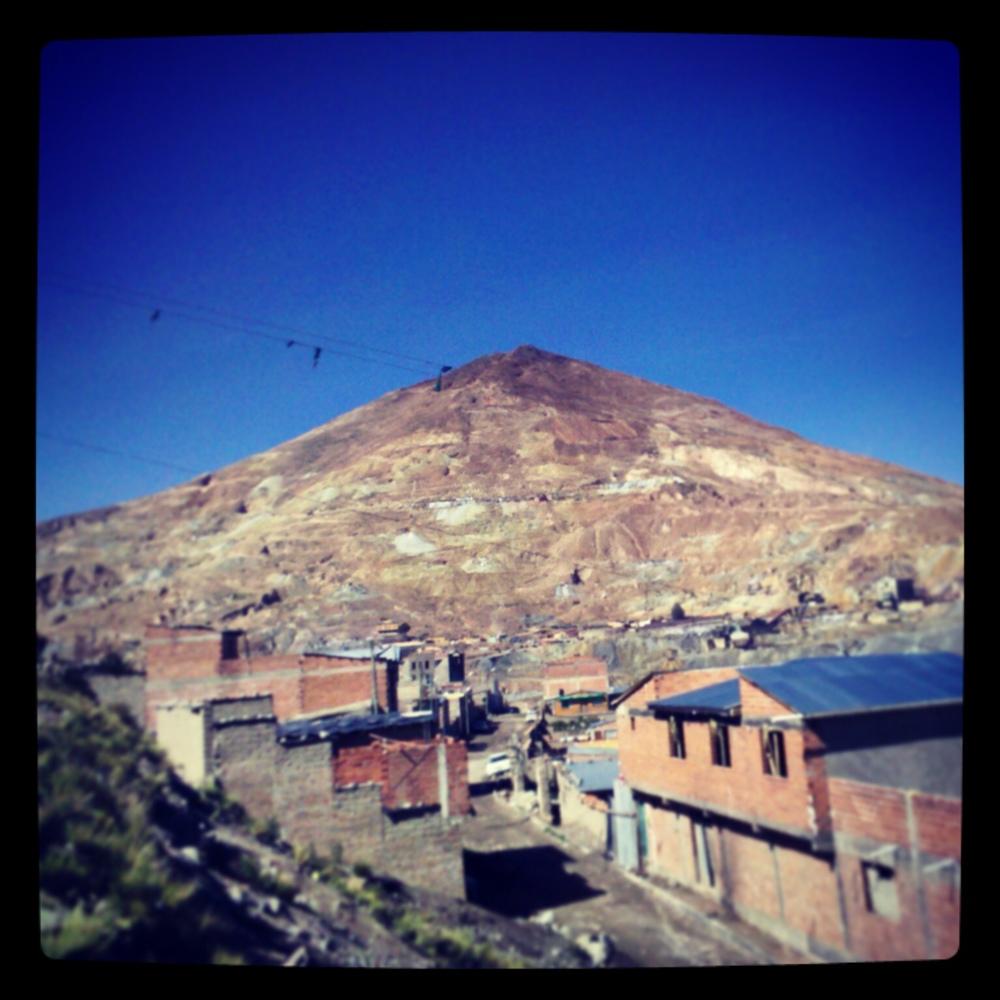 Cerro Rico rising above Potosi, Bolivia.