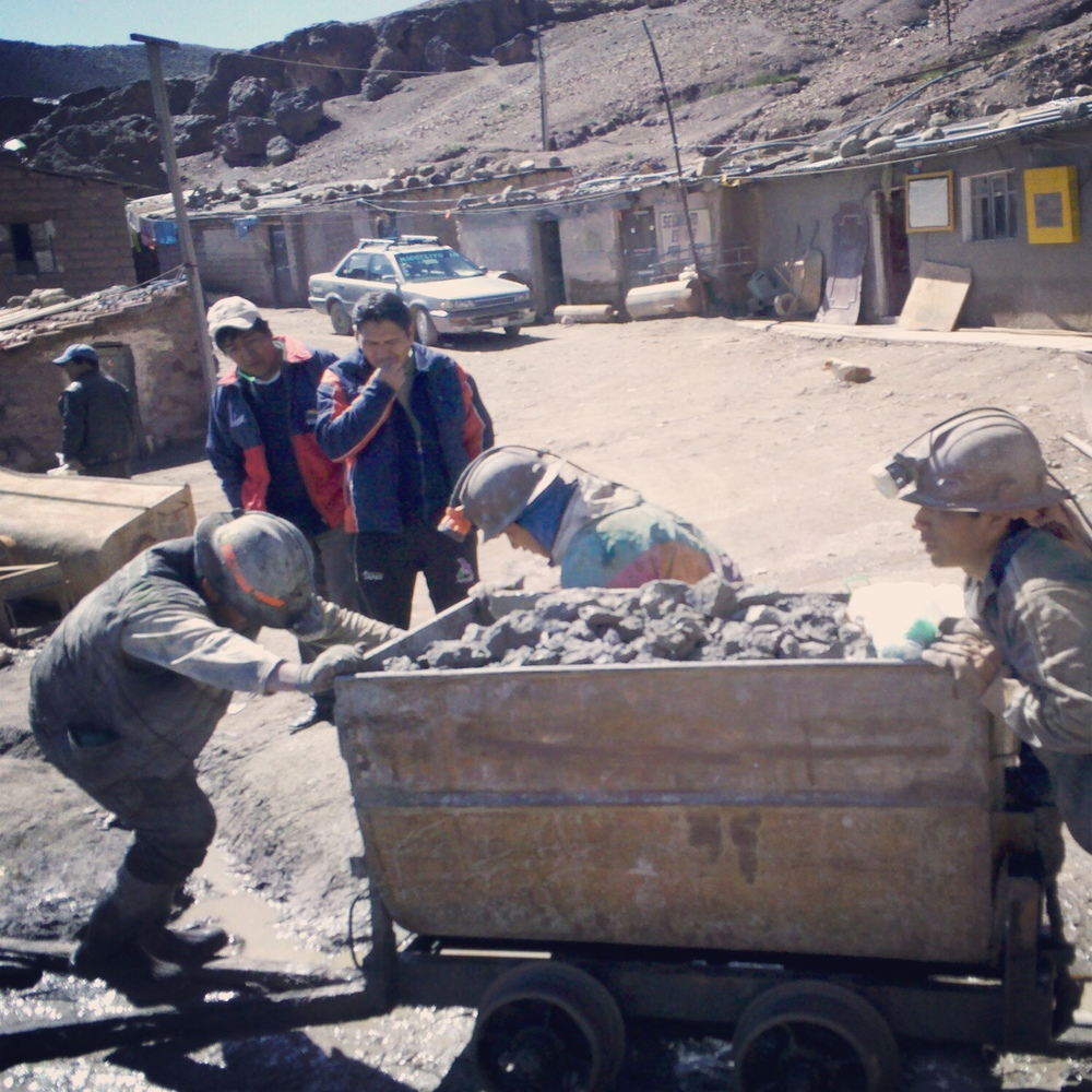 Miners on Cerro Rico in Potosi, Bolivia.