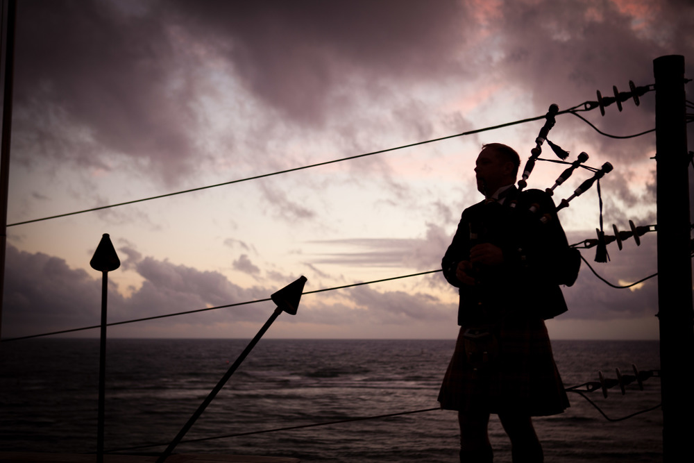 Include our unique Sunset Ceremony with your Wedding Event. Our Scottish Bagpiper and Hawaiian Kumu will talk story with you and your guests in their personalized delivery of our ceremony created for Fleetwood's On Front St..