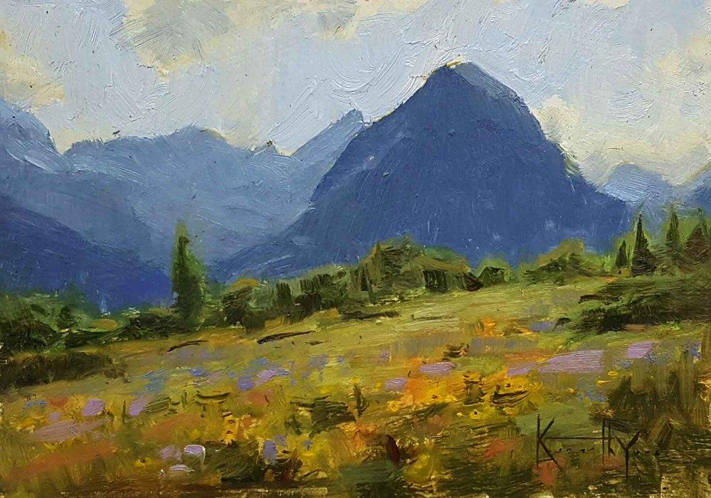 "Ken Yarus ""Many Glacier Study"" unframed 5 x 7 $200"