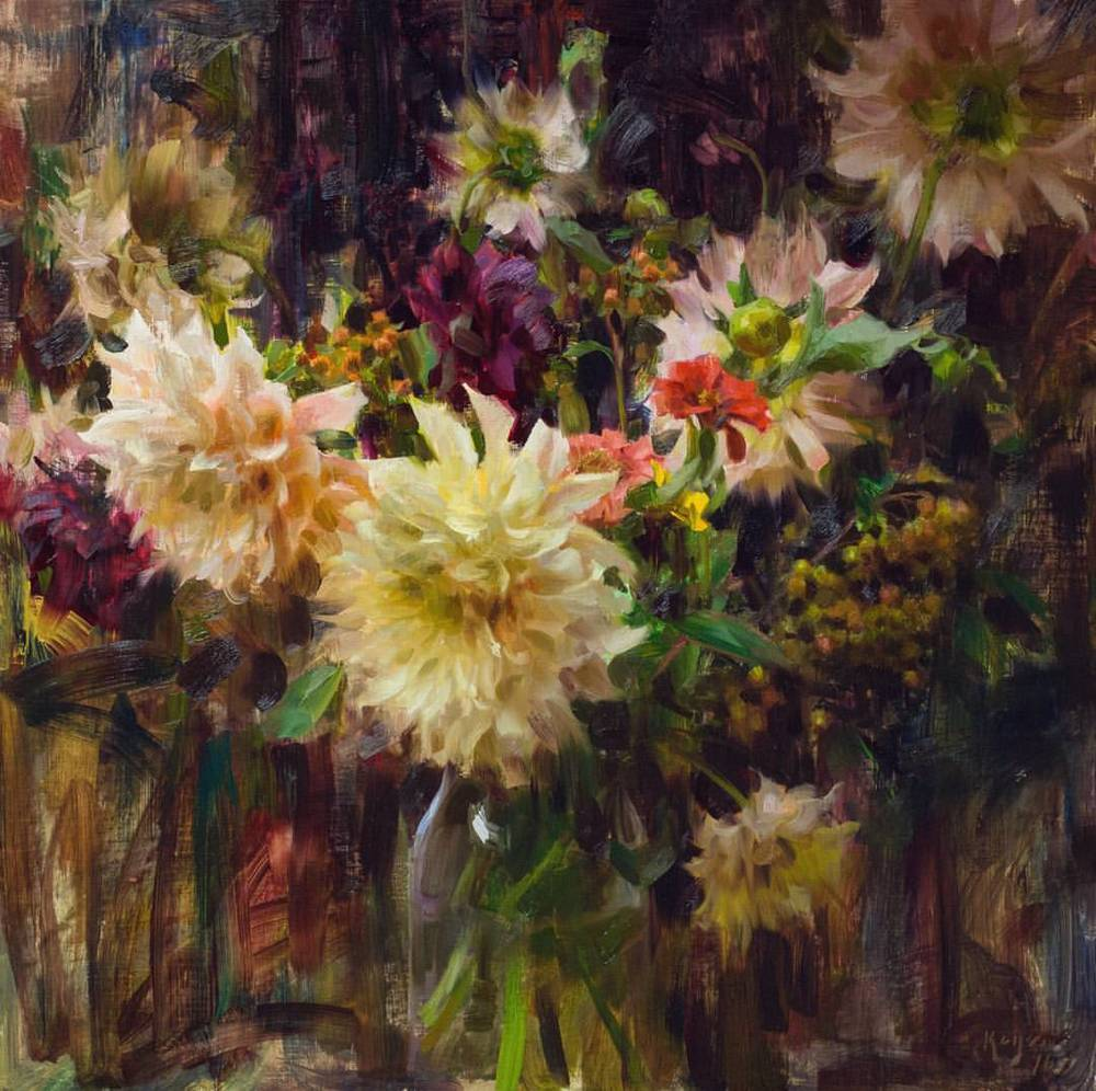 "Daniel Keys ""Dahlias, Zinnias, and Berries"" (framed) 25 x 25 $9000"