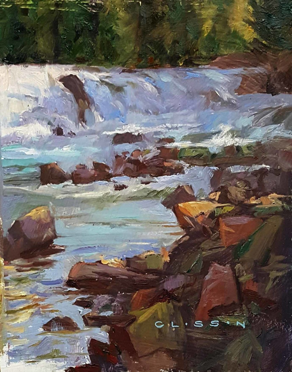 "Nate Closson ""McDonald Falls"" 7 x 9 unframed $375"