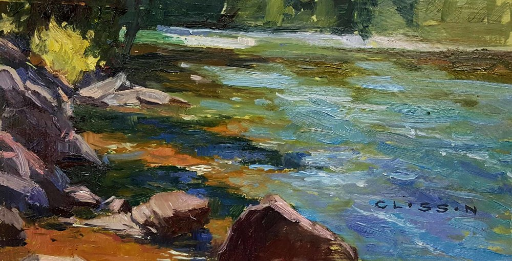 "Nate Closson ""McDonald Creek"" 5 x 9 unframed $275"