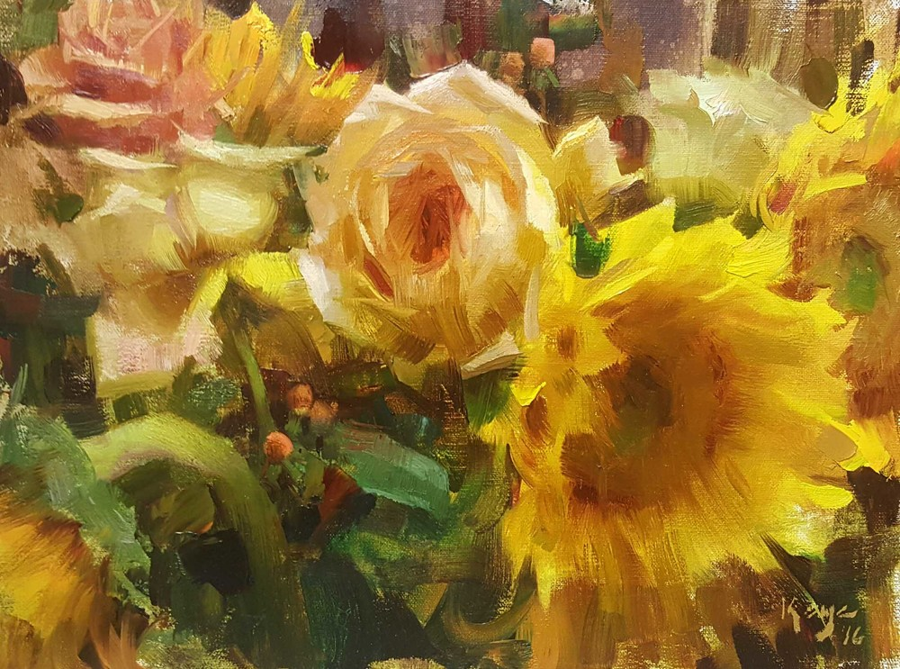 "Daniel Keys - ""Sunflowers and Roses"" 9 x 12 framed $2000"