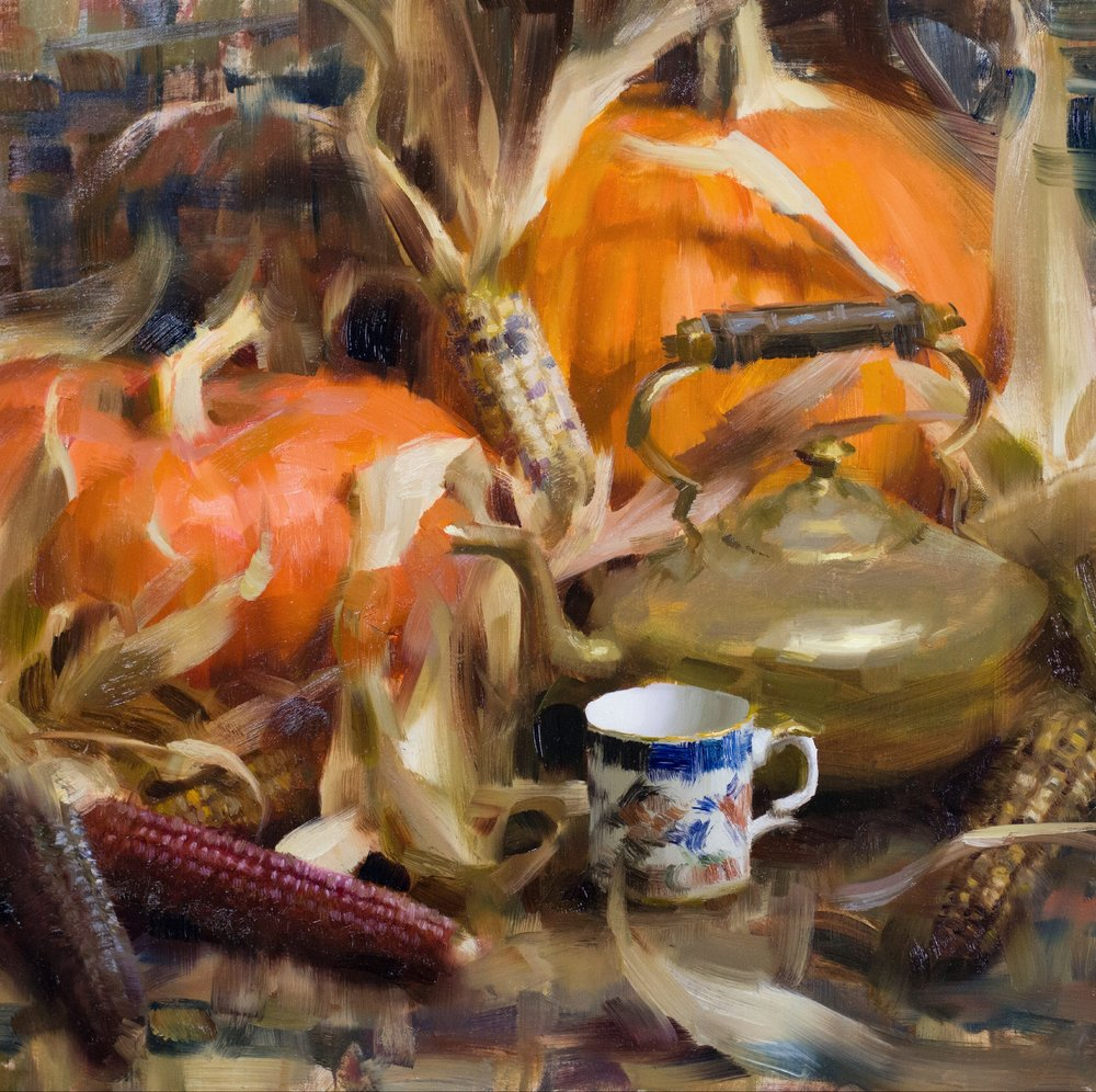 """Fall Harvest Composition""   16 x 16 inches, oil on linen   $2,500"
