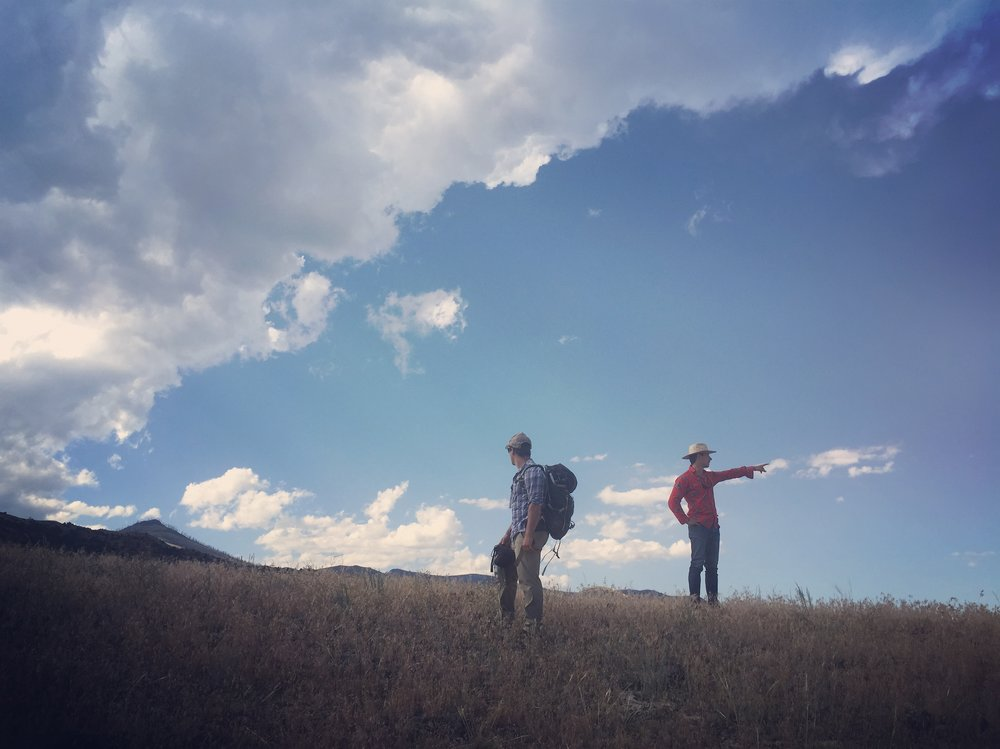 Ken Yarus and Richie Carter scout the perfect vista near Emigrant.