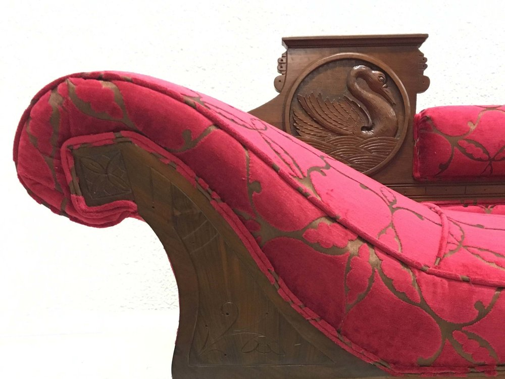 Edwardian chaise lounge in Zoffany cut velvet