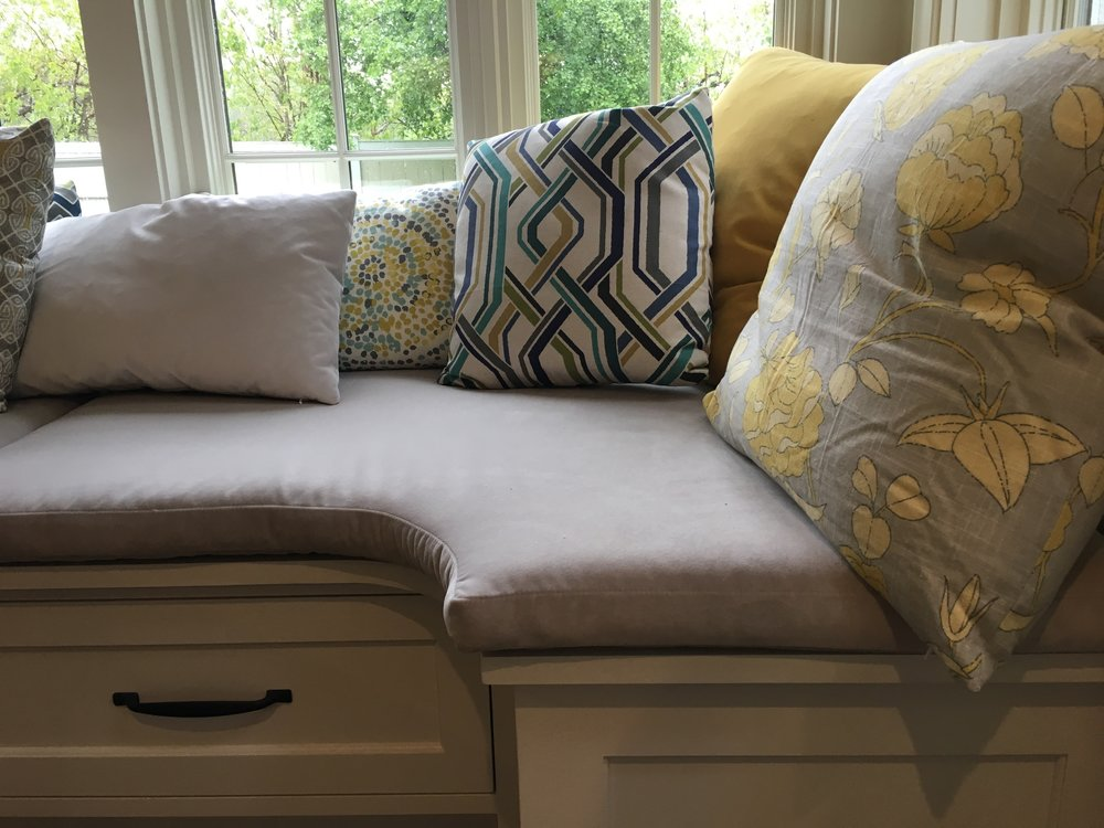 Pillow mix of  Duralee  cotton/linen prints