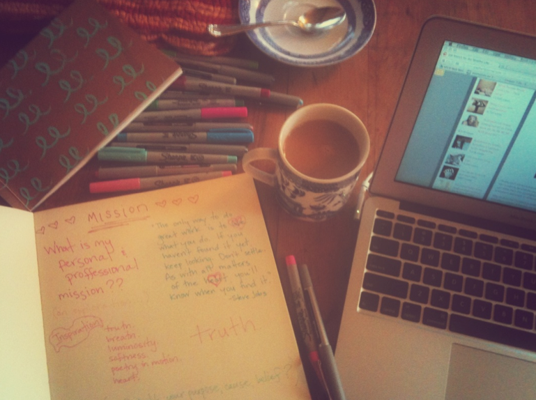 maybe being in love feels like a fresh cup of vanilla coffee in the morning, next to 15 different shades of pink and blue green sharpies and a brand new blank notebook, with nowhere else to be for hours, and hours.