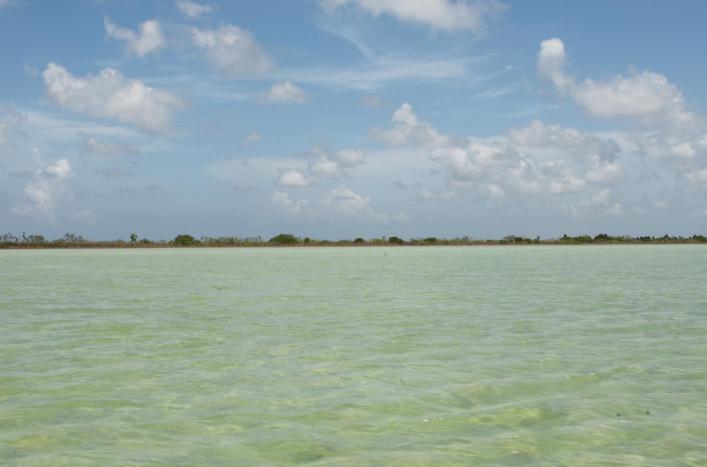 boating across the lagoon at sian kaan preserve, near tulum.